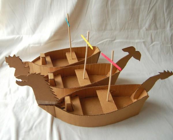 Diy With Children Box Cardboard Boat